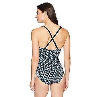 Brand - Coastal Blue Women's Control One Piece Swimsuit, Drizzy, XL