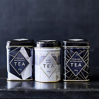 Art deco mini tea tin triple gift pack