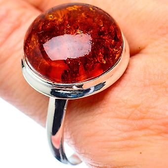 Large Baltic Amber Ring Size 13.5 (925 Sterling Silver)  - Handmade Boho Vintage Jewelry RING27057