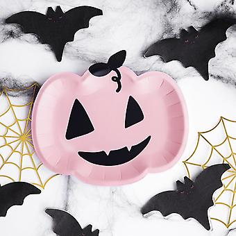 Pink Halloween Party Pumpkin Plates x 6