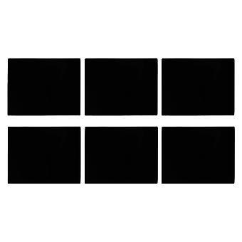 Lasiset placemats-setti | 50 x 40cm - Musta | Liukumaton karkaistu ruokapöytämatot