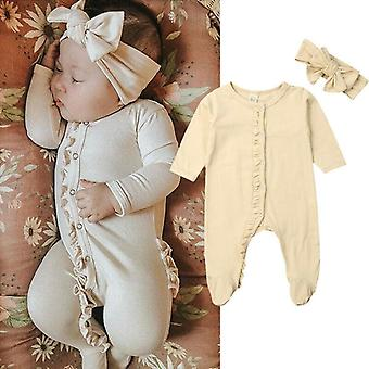 Newborn Baby Cotton Long Sleeve Button Ruffles Solid Color Romper Headband