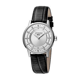 Ferre Milano Women's FM1L102L0011 Silver Dial Black Leather Wristwatch