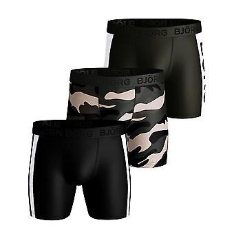 Bjorn Borg Panel Stripe 3 Pack Performance Short - Black Beauty