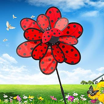 Double Layer, Ladybug Design Wind Spinner Pinwheel, Home Decoration, Garden