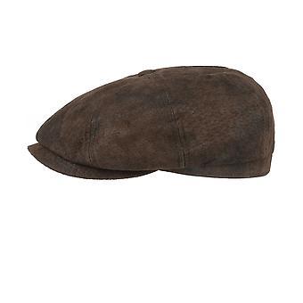 Stetson Leather Hatteras Newsboy Cap