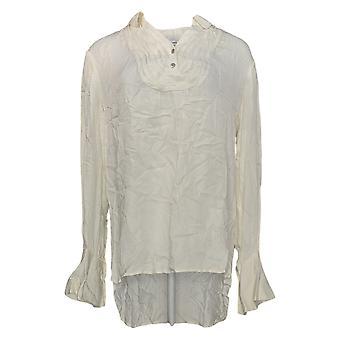 Peace Love World Women's Top Tuxedo Blouse W/ Belle Sleeve Ivory A295083