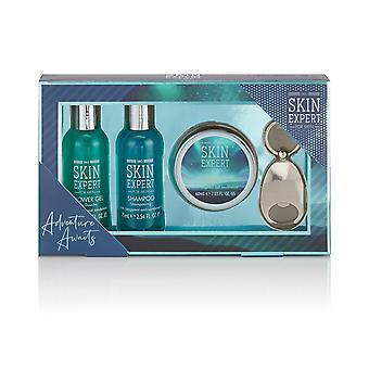 Style & Grace Skin Expert Mini Grooming Set 80ml Shower Gel, 80ml Shampoo, 60ml Aftershave Balm and Bottle Opener Keyring