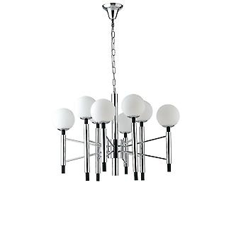 8 Licht Mutli Arm Globe Deckenanhänger, Chrom, Opal, weiß, E14
