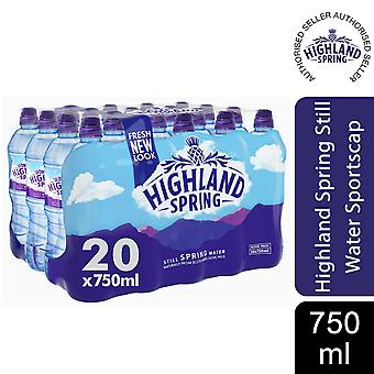 20x750ml Highland Spring Still Sportscap Water Bottle, Fully Recyclable