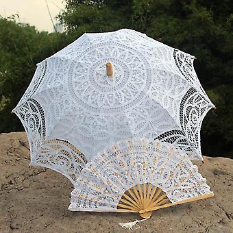 Factory Verkopen Handgemaakte verschillende maten Prom Wedding Bride Lace Umbrella Fan Sun