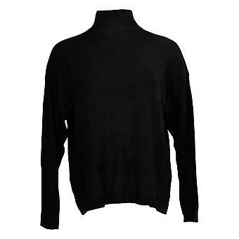 Laurie Felt Women-apos;s Sweater Cashmere Blend Mock-Neck Black A346619