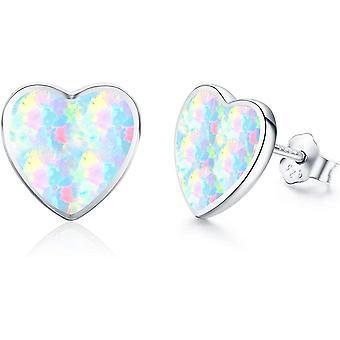 Silver Heart Opal Earrings for Girls Kids Sterling Silver Earrings Gift Set