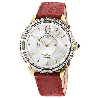 GV2 Sienne Femmes MOP White Dial Red Leather Strap Watch
