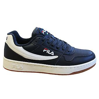 Fila Arcade Low Mens Trainers Navy Blue Leather Lace up عارضة الأحذية 1010583 29Y