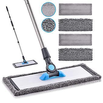 Floor Mop Microfibre Mop- MANGOTIME Flat Floor Wipes Mop with 4 Washable Chenille & Microfiber Pads