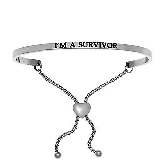 Intuitions Stainless Steel I'M A SURVIVOR Diamond Accent Adjustable Bracelet