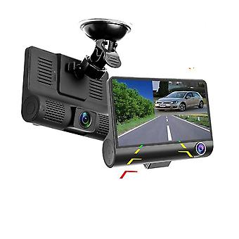 Kolmitaajuinen auton Dvr Fhd kolmen linssin videonauhuri kamera 170 laajakulma kojelautakamera