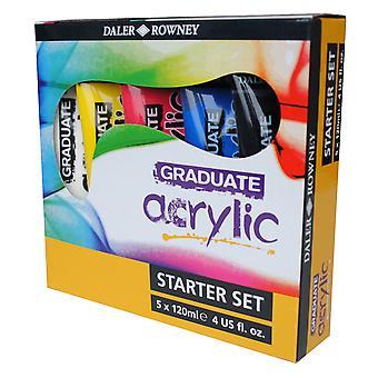 Daler Rowney Graduate Acrylic Paint Starter Set 5 x 120ml