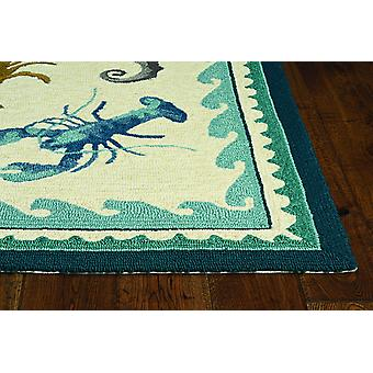 2'x3' Ivory or Teal Polypropylene Accent Rug