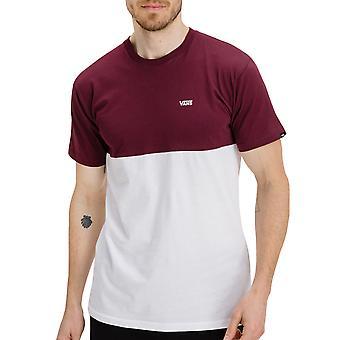 Vans Mens Colorblock צוות צווארון כותנה חולצת טריקו חולצת טי העליון - בורגונדי / לבן