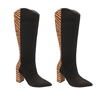 Ravel Grande Zebra Pattern Knee-High Heeled Boots for Women (Size 6) - Black