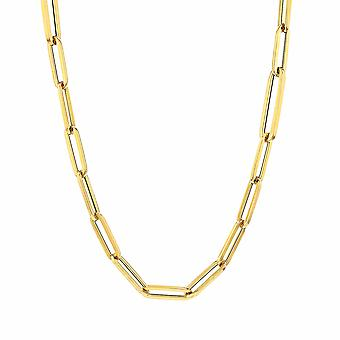 14k Yellow Gold Paperclip Chain Necklace, 3mm