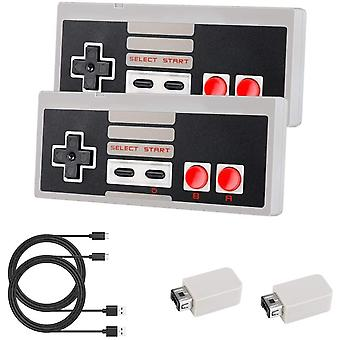 Laelr 2.4G Wireless Controller 2 Pack NES Mini Classic Controllers Gamepad Rechargeable Nintendo