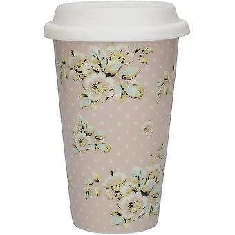 "Katie Alice ""Cottage Flower"" Insulated Ceramic Travel Mug with Silicone Lid by Creative"
