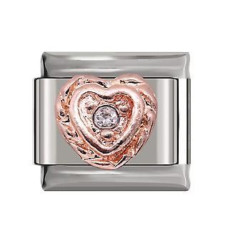 Dazzling Cz Italian Charm Stainless Steel Jewelry
