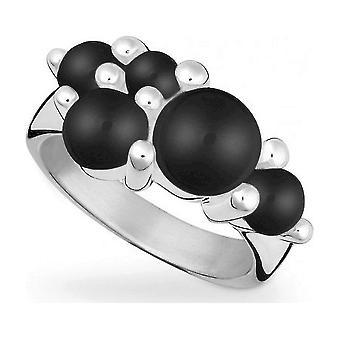 QUINN - Ring - Damer - Sølv 925 - Edelsten - Onyx - Bredde 56 - 2125662