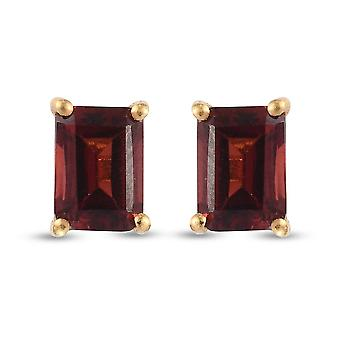 TJC Garnet Stud Earrings Gold Plated Silver Gift for Her 2ct