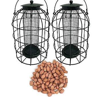 2 x Simply Direct Squirrel Resistant Guard Nut Feeders with 1.8KG Bag of Peanut Wild Bird Feed
