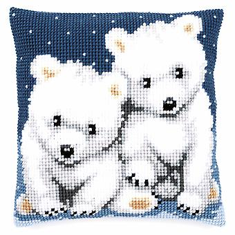 Vervaco Cross Stitch Kit: Coussin: Ours polaires