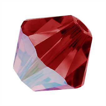 Swarovski Crystal, #5328 Bicone Pärlor 4mm, 24 Pieces, Scarlet AB