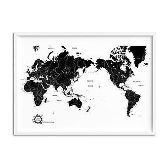 Maailmankartta Musta Valkoinen Taidetulostus