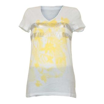 Oui White Short Sleeve T-shirt With Print & Metallic Stripe Detail