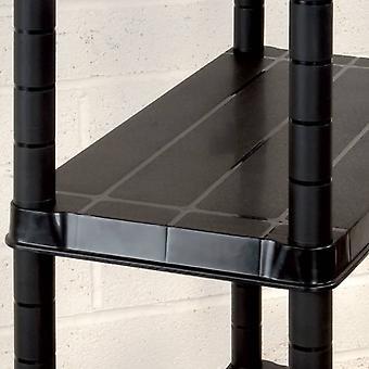 vidaXL opbergplank met 4 legplanken Zwart 244x30,5x130 cm kunststof