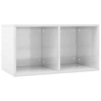 vidaXL Record Storage Box High Gloss White 71×34×36cm