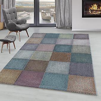 Wohnzimmer Teppich ONTARIO Kurzflor Weich Modernes Quadrat Pixel