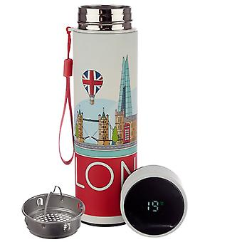 London Icons wiederverwendbare Edelstahl hot & Cold Thermal isoliert E-Getränke Flasche mit digitalen Thermometer