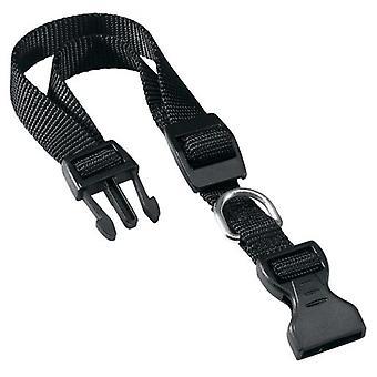 Ferplast Collier Club C noir en nylon réglable avec chaîne en métal noire