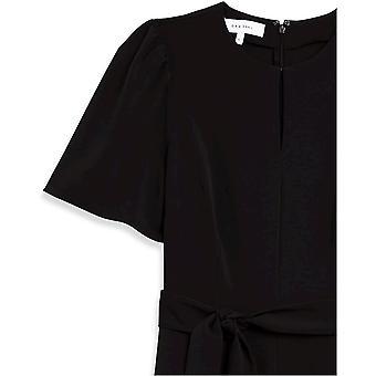Brand - Lark & Ro Women's Puff Sleeve Split Neck Belted Crop Length Jumpsuit