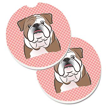 Caroline's Treasures Checkerboard Pink English Bulldog Set di 2 Cup Holder Car Coasters BB1219CARC, 2.56, Multicolor