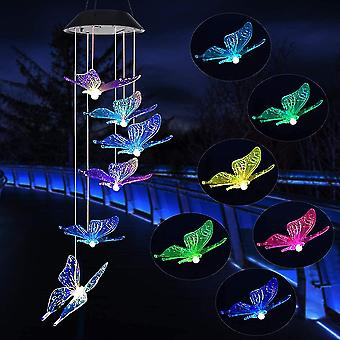 Butterfly LED Solar Wind Chimes, Memorial Hanging Wind Bell for Home Garden Decoration, Automatic Light Changing Color