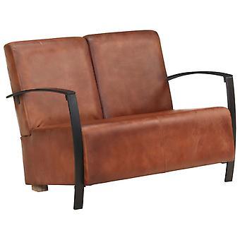 vidaXL 2-paikkainen sohva Braun todellinen nahka