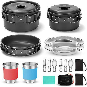 Camping cookware for 2 people portable pots pans cup teaport set folding outdoor cooking set picnic tableware camping plates