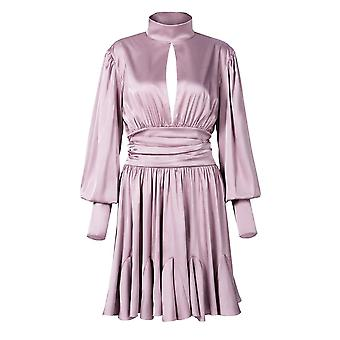 Women's French Retro Ruffled With Puff Sleeves Backless Dress