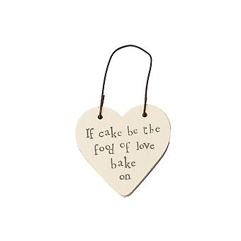 Cake Is The Food of Love - Mini Wooden Hanging Heart - Cracker Filler Gift