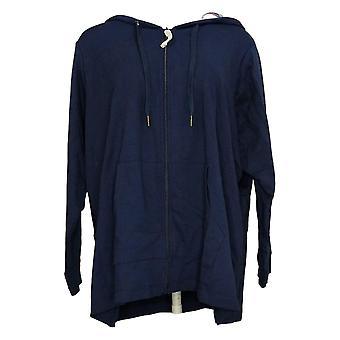 Denim &co. dame Petite Petite zip-up jakke trykt hette lilla A391545